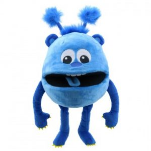 Blue baby monster hand puppet company