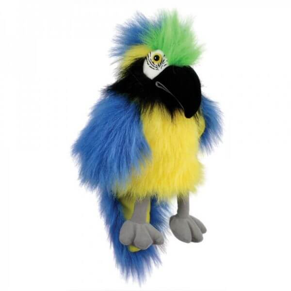 Baby blue & gold macaw puppet company hand puppet