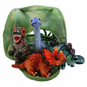 Dinosaur house finger puppet set