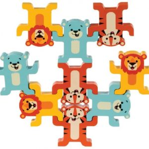 Lions, tigers and polar bear wooden toys balancing